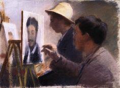 Peder Severin Kroyer, Oscar Björck and Eilif Peterssen Painting Portraits of Georg Brandes, 1883 on ArtStack #peder-severin-kroyer #art