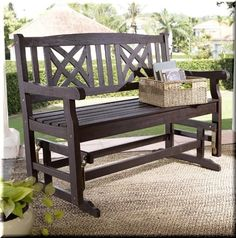 Patio Loveseat Bench Wood Outdoor Garden Porch Deck Furniture Dark Brown   | eBay