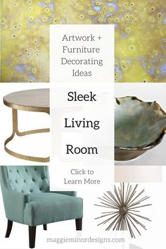 How to Create a Sleek Stylish Living Room | modern organic living room with colorful artwork | large yellow oversized abstract canvas prints | coastal artwork | organic weathered wooden end tables | colorful teal blue turquoise accent chairs | yellow modern organic gold ceramic wall sculptures and accent pieces | modern residential interior design ideas | home decorating ideas | home decor | furniture and artwork for bold women professional women | stylish room ideas turquoise...