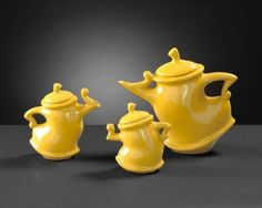 $59 Howard Elliott Collection 1885 3-Piece Canary Whimsical Decorative Tea Pots, Bright Canary Yellow