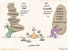 """Unease, anxiety, tension, stress, worry- all forms of fear- are caused by too much future and not enough presence. Guilt, regret, resentment, grievances, sadness, bitterness and all forms of non forgiveness are caused by too much past and not enough presence."" ~ Eckhart Tolle"
