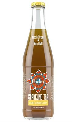Bhakti Lemon Ginger Black Sparkling Tea A blend of carbonated Fair Trade black tea, Bhakti's signature fresh-pressed ginger and a splash of fresh, organic lemon juice. The perfect refreshing, low-calorie carbonated beverage. SRP: $2.99. www.drinkbhakti.com