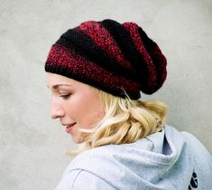 Black red slouchy knit beanie Hipster striped beanie Wool knit hat Winter fall beanie hat Girls warm beanie Knit beanie cap Knit headwear Ready to ship!! This hipster beanie knitted by hand with a soft high-quality blend yarn. The original coloring of the red-black melange yarn and the circular pattern of the cap makes it OOAK. By wearing a hat you will feel its softness and comfort. You will love it! This slouchy beanie can be a great gift, you can pamper yourself or your loved ones. Good…