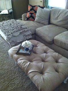 DIY Tufted Burlap Ottoman DIY Furniture