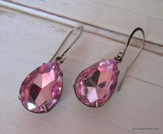 Purple Rhinestone Earring Mauve Earring by SpiritSparkleWhimsy
