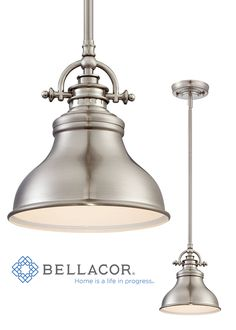 The Emery Brushed Nickel One-Light Mini Pendant is an elegant nod to the past. The classic Americana styling adds a nostalgic flair to your home. When hung over a kitchen island or dinette table it provides ample lighting for all your daily tasks. http://www.bellacor.com/productdetail/quoizel-er1508bn-emery-brushed-nickel-one-light-mini-pendant-1567562.htm?partid=social_pinterestad_1567562_collage
