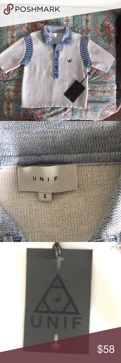 Unif crop sweater Very cute you know INIF Crop top with Unif Logo embroidery on left chest soft collar with five button down UNIF Sweaters