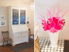 Juliet's First Birthday – A Flamingo Party, black and white polka dots, flamingos, gold details