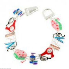 Hair Stylist Bracelet Nail Salon Gifts Magnetic Link Metal Jewelry Blow Dryer  #DavenportDesigns #MagneticLinkBracelet