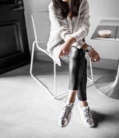 leather leggings, metallic sneakers