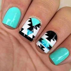 Blue Aztec Nails for Spring  #Beauty #Trusper #Tip