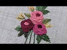 Birit İğnesi İle Gül Demeti (Hand Embroidery) - YouTube