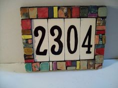 ceramic house numbers diy - Love the way this looks. Time to replace mine Ceramic House Numbers, Tile House Numbers, Handmade Tiles, Handmade Home, Handmade Ceramic, Pottery Houses, Ceramic Houses, Mosaic Projects, Mosaic Ideas