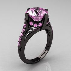 French Vintage 14K Black Gold 3.0 CT Light Pink by artmasters, $2399.00