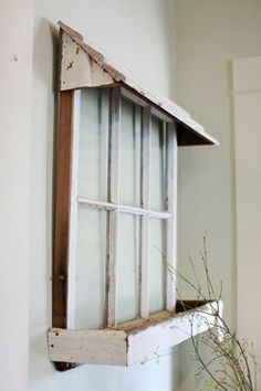 50 ways to use old windows- old window with box and awning pane ideas for porch 50 Ways To Use Old Windows - Rustic Crafts & Chic Decor Wooden Windows, Vintage Windows, Windows And Doors, Antique Windows, Vintage Window Decor, Rustic Window Decor, Rustic Chic Decor, Old Window Frames, Old Window Ideas