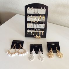 NWT Bundle 15 hoop earrings display stand Xmas gem New with tags bundle set of 15 earrings! You will receive ALL of the items shown, including the display stand and earring hang cards. All items are lead & nickel free, hypo-allergenic. NOT SOLD INDIVIDUALLY! No exceptions. Items cannot be swapped out or traded for other styles from other sets in my closet! You may have to purchase several sets to acquire all the styles you desire! Ready to Gift! I ship same day! Prices if firm. No trades…