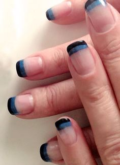 CND Shellac clear French using black & royal blue CND additives on tips #shellac #nails #french www.facebook.com/shellacnailsbysarahmaie