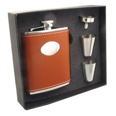 Visol Products Leather Stainless Steel Hip Flask Gift Set Finish: Hound Brown