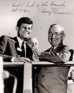 """1952 - The rising young politician gets the nod of approval from President Harry Truman, despite Truman's great dislike for Joe Kennedy Sr. Regarding Jack, Truman declares, """"There is little doubt of the great political future in store for Kennedy. Joe Kennedy Sr, Les Kennedy, Harry Truman, American Presidents, American History, Presidents Usa, Presidential History, John Fitzgerald, World History"""