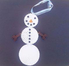 Snowman ornament perler beads by ChaosAndDesign