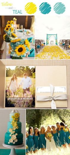 yellow and teal wedding color ideas and wedding invitations