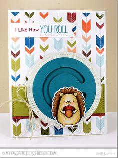 Happy Hedgehogs Stamp Set and Die-namics, Single Stitch Line Circle Frames Die-namics, Circle Spinner Channels Die-namics - Jodi Collins #mftstamps