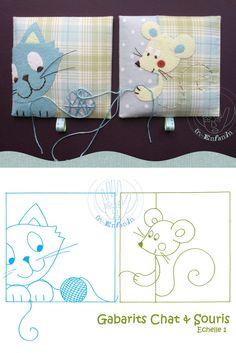 Chat et souris avec une pelote de laine - tutoriel et gabarits (sauveg.)