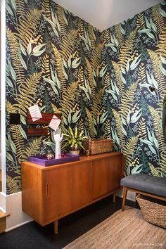 See How We Decorated Our Entryway Bright Bold Home Decor Fern Wallpaper, Print Wallpaper, Rental Home Decor, Easy Home Decor, Inspirational Wallpapers, Entryway Furniture, Bold Prints, Beautiful Interiors, Living Spaces