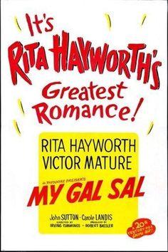 1942 HOLLYWOOD MOVIE POSTER my gal sal RITA HAYWORTH musical COLORFUL 24X36