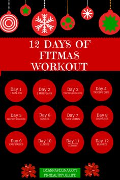 Join me for a 12 Days of Fitmas Challenge!  Head over to my Facebook page fb/healthfulllife for daily prizes and contests!  www.deannapecina.com