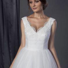 Style #401401407 lace neckline wedding gown