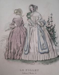 Fashion plate.  Le Follet.  Probably circa 1840.    Elly Snowe's private collection.