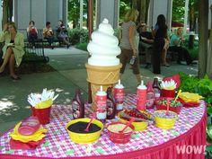 Ice cream sundae table