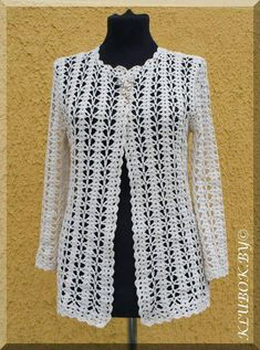 Very unusual and beautiful white jacket for the fashionable woman. Simple free patterns for crochet white jacket Crochet Bolero, Gilet Crochet, Crochet Coat, Crochet Cardigan Pattern, Crochet Jacket, Crochet Blouse, Crochet Clothes, Crochet Patterns, Knitting Patterns