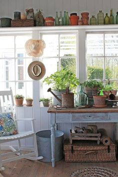 Fun She Shed Conversion Ideas Country Decor, Farmhouse Decor, Shed Conversion Ideas, Garden Shed Interiors, Potting Sheds, Potting Benches, Deco Champetre, Home And Garden Store, Vibeke Design