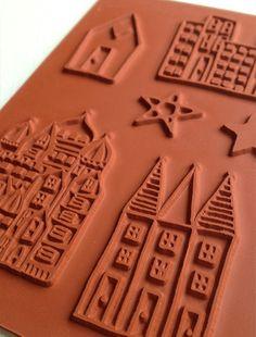 Alisa Burke — whimsical city- rubber stamp sheet