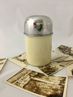 Vintage Stainless Steel And White Personal Cannister Coffee Canister Kitchen Decor Stash Box Trinket Box by LoftAtticEarth on Etsy