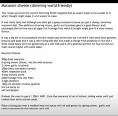 Macaroni Cheese, Slimming World Recipes, Food Hacks, Tasty, Dishes, Thoughts, Tips, How To Make, Meals