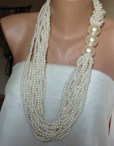 2016 Bridal Pearl Necklace multistrand Pearl by HMbySemraAscioglu