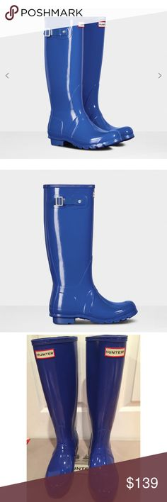 HUNTER GLOSSY COBALT BLUE RAIN BOOTS💗 BRAND NEW W/ BOX ETC. GORGEOUS COBALT BLUE. I OWN SEVERAL PAIRS and in my opinion the RAIN BOOTS RUN LARGE. I am normally a SZ 7 in or 37 and sometimes a 37.5 in Designer. These are a US 6 UK 37 or EU 37 and all my other HUNTERS I've Had to Downsize to this SZ. This color is stunning!!*️⃣PRICE is FIRM and Heavy to Ship with Box. . Hunter Boots Shoes Winter & Rain Boots