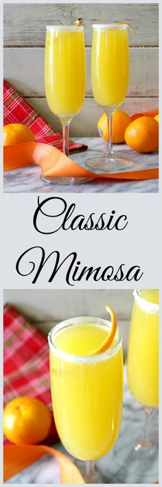 Classic Mimosa - A combination of orange juice and Champagne. It tastes like bubbly orange juice. It is slightly sweet and a little dry. The Champagne bubbles go up your nose.
