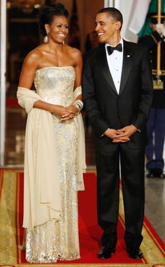 Michelle Obama State Dinner Dresses Through the Years - Naeem Khan in 2009
