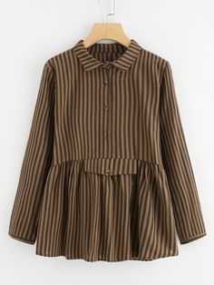 SheIn offers Vertical Striped Babydoll Blouse & more to fit your fashionable needs. Muslim Fashion, Hijab Fashion, Fashion Dresses, Women's Fashion, Blouse Batik, Batik Dress, Blouse Styles, Blouse Designs, Batik Fashion