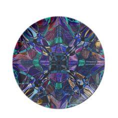 Blue Kaleidoscope Fractal Dinner Party Plates $28.10