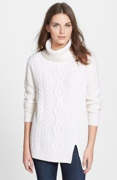 Nordstrom Collection Cashmere Cable Pullover at Nordstrom.com. A beautiful mix of cables and ribbing adds gorgeously cozy texture to a turtleneck sweater spun from lush cashmere and contemporized with a notched, asymmetrical hem.