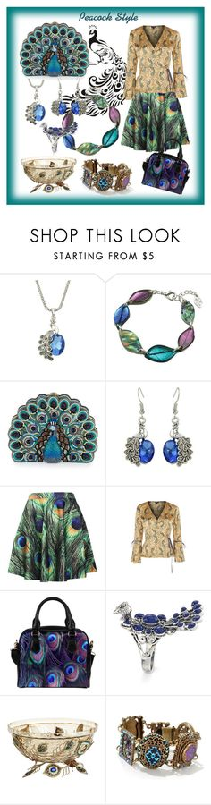"""Peacock Style"" by yaschy ❤ liked on Polyvore featuring Judith Leiber, Topshop, Pier 1 Imports, Sweet Romance and peacock"