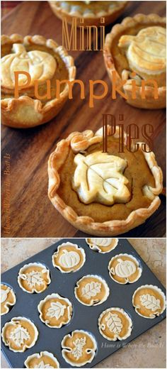 Mini Pumpkin Pies! Quick and easy to make with a muffin tin, cookie cutters and a package of refrigerated pie crusts! #pumpkin #fallbaking #thanksgiving