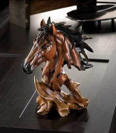 Wild Horse Stallion Head Bust Western Art Sculpture Animal Figurine Stud Statue