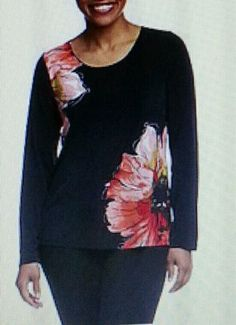 """SUSAN GRAVER (QVC) LIQUID KNIT FLORAL TOP A199399 NEW RETAILED ON QVC FOR $48.72 WITH S&H SOLD OUT IN THIS SIZE AND COLOR COLOR: CORAL SIZE MEDIUM (10-12) 38-39.5"""" BUST *THIS IS A LOVELY BLOUSE IT GOE"""