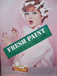 Charles of the Ritz Fresh Paint Nail Lacquer Retro Makeup, Vintage Makeup, Vintage Beauty, Vintage Glamour, Retro Advertising, Vintage Advertisements, Beauty Ad, Diy Beauty, Vintage Nails
